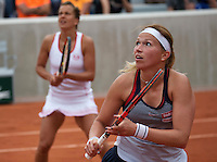 Paris, France, 26 June, 2016, Tennis, Roland Garros,  Doubles: Michaella Krajicek (NED) (R) with her doubles partner Barbora Strycova<br /> Photo: Henk Koster/tennisimages.com