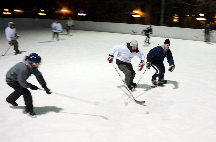 A hockey game in the park. Quebec City, Canada