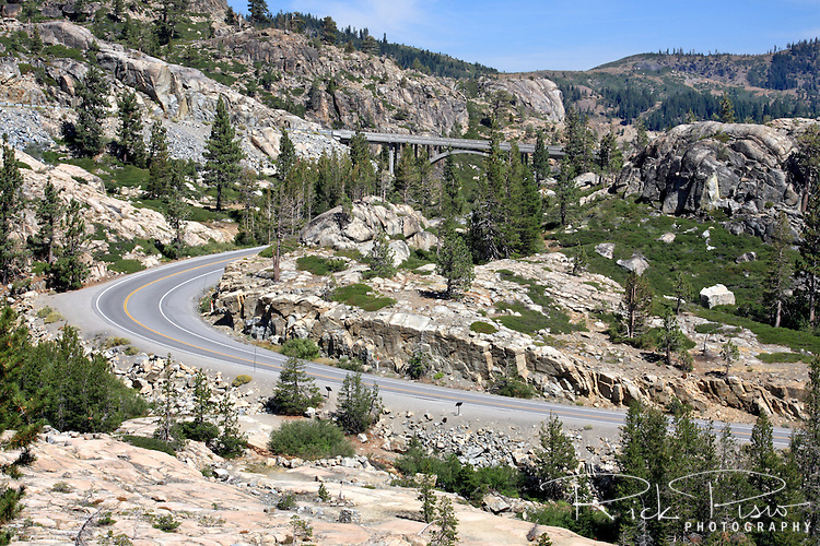 Historic Highway 40 at Donner Summit west of Truckee, California.