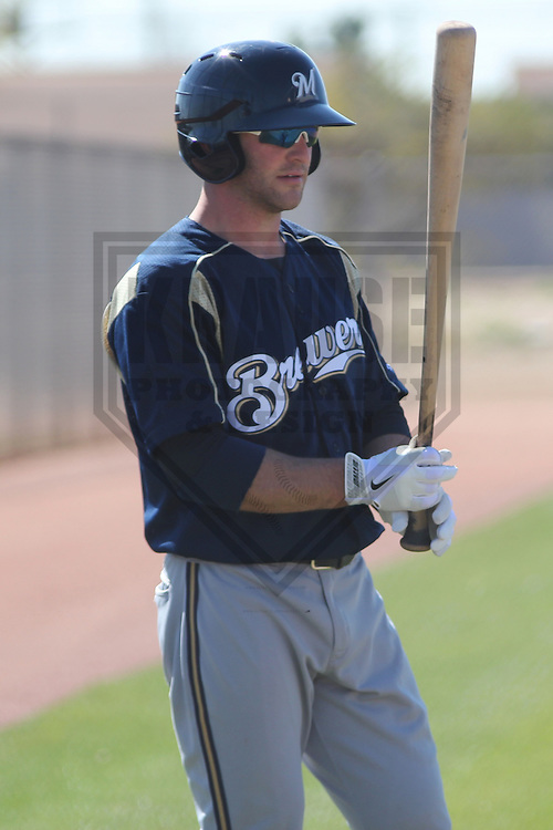 MARYVALE - March 2013: Ben McMahan of the Milwaukee Brewers during a Spring Training practice on March 11, 2013 at Maryvale Baseball Park in Maryvale, Arizona. (Photo by Brad Krause). ...