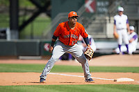Buies Creek Astros first baseman Dexture McCall (27) on defense against the Winston-Salem Dash at BB&T Ballpark on April 16, 2017 in Winston-Salem, North Carolina.  The Dash defeated the Astros 6-2.  (Brian Westerholt/Four Seam Images)