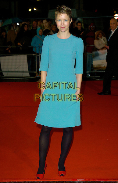 "ANNA MAXWELL MARTIN.""Becoming Jane"" World Premiere, Odeon West End, .London, England, March 4th 2007..full length blue dress pockets red patent shoes black tights.CAP/CAN.©Can Nguyen/Capital Pictures"