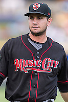 Nashville Sounds first baseman Anthony Aliotti (20) warm up before a baseball game, Sunday May 03, 2015 in Round Rock, Tex. (Mo Khursheed/TFV Media via AP images)