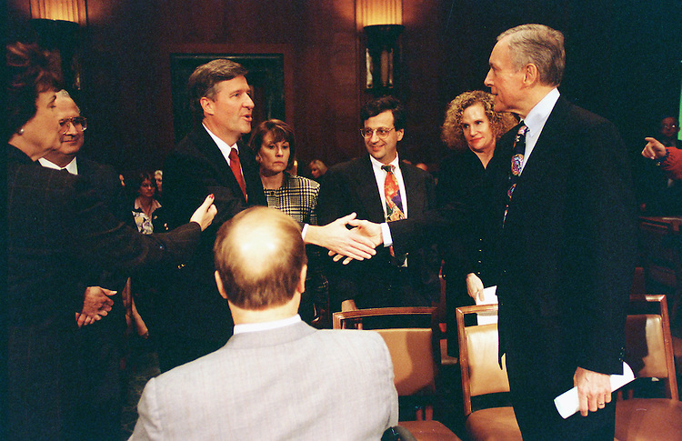 11/12/97.JUDICIAL NOMINATIONS HEARING--Sen. Dianne Feinstein, D-Calif., far left, introduces Judiciary Committee Chairman Orrin Hatch, R-Utah, to federal judicial nominees Carlos Moreno, to be the U.S. District Judge for the Central District of Cailifornia, Richard W. Story, to be the U.S. District Judge for the Northern District of Georgia, shaking hands, Barry G. Silverman, to be the U.S. Circuit Judge for the Ninth Circuit, and Christine O.C. Miller, to be a Judge of the U.S. Court of Federal Claims. Sen. Max Cleland, D-Ga., who endorsed Story, has his back to camera..CONGRESSIONAL QUARTERLY PHOTO BY SCOTT J. FERRELL