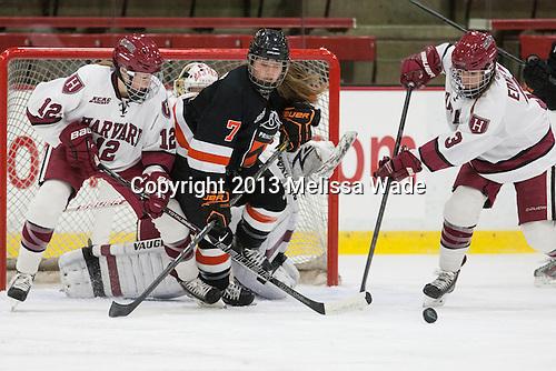 Samantha Reber (Harvard - 12), Jaimie McDonell (Princeton - 7), Sarah Edney (Harvard - 3) - The Harvard University Crimson defeated the visiting Princeton University Tigers 4-0 on Saturday, October 26, 2013, at Bright-Landry Hockey Center in Cambridge, Massachusetts.