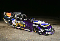 Jan 15, 2015; Jupiter, FL, USA; A portrait of the car of NHRA funny car driver Jack Beckman during preseason testing at Palm Beach International Raceway. Mandatory Credit: Mark J. Rebilas-USA TODAY Sports