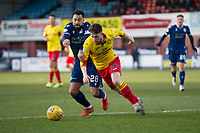 8th February 2020; Dens Park, Dundee, Scotland; Scottish Championship Football, Dundee versus Partick Thistle; Kane Hemmings of Dundee challenges for the ball with Jamie Barjonas of Partick Thistle