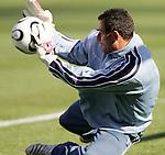 11 February 2006: Costa Rica goalkeeper Jose Porras, pregame. The Costa Rica Men's National Team defeated South Korea 1-0 at McAfee Coliseum in Oakland, California in an International Friendly soccer match.