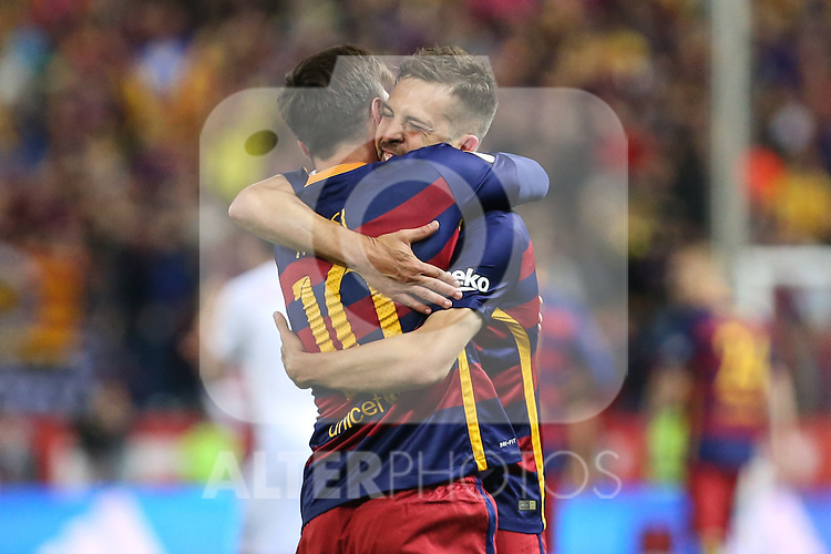 FC Barcelona's Leo Messi and Jordi Alba during Spanish Kings Cup Final match. May 22,2016. (ALTERPHOTOS/Rodrigo Jimenez)