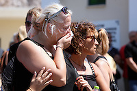 Pictured: A female relative of the victims break down in tears in Schisto, Piraeus, Greece Friday 19 August 2016<br /> Re: The funeral for Theodosis Katifes and his five year old daughter Sevasti, two of the victims of a crash involving a speed boat and a ltourist boat has taken place at the Schisto area of Piraeus.<br /> Tharsivoulos Lykourezos, the captain of a speedboat that collided with a tourist boat off the Greek island of Aegina, killing four people, has appeared in court.<br /> The speedboat called Duente collided with a tourist boat called Antonia carrying more than 20 people.