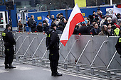 WARSAW, POLAND, DECEMBER 20, 2016:<br /> Police stand guarding the Sejm, Polish parliament building, during anti government demonstration.<br />  The opposition objects to government plans to limit the number of journalists allowed to cover parliamentary proceedings. The MPs' protest delayed a budget vote, which was later held away from the main parliament chamber. (Photo by Piotr Malecki / Napo Images) **** WARSZAWA, 20.12.2016. Policjanci bronia Sejmu podczas demonstracji opozycji pod sejmem w obronie wolnosci mediow Fot. Piotr Malecki / Napo Images ###ZDJECIE MOZE BYC UZYTE W KONTEKSCIE NIEOBRAZAJACYM OSOB PRZEDSTAWIONYCH NA FOTOGRAFII### ### Cena zdjecia w/g cennika FORUM plus 50% (cena minimalna 100 PLN)