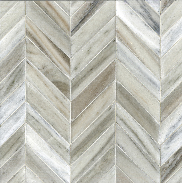 Errol, a stone mosaic, shown in Cashmere with a Della Mano finish, is part of the Ann Sacks Beau Monde collection sold exclusively at www.annsacks.com