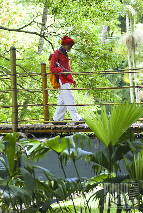 A man wearing a red shirt and headscarf walks on a bamboo bridge over a  stream surrounded by lush green foliage at McBryde gardens near Poipu, Kauai, which are part of the 5 National Tropical Botanical gardens in the US.