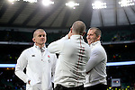 Stuart Lancaster, Graham Rowntree and Mike Catt share a joke after the match - RBS 6 Nations - England vs Italy - Twickenham Stadium - London - 14/02/2015 - Pic Charlie Forgham-Bailey/Sportimage