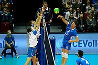 GRONINGEN - Volleybal, Abiant Lycurgus - Luboteni, voorronde Champions League, seizoen 2017-2018, 26-10-2017 smash Lycurgus speler Wytze Kooistra