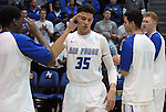 March 1, 2016 - Colorado Springs, Colorado, U.S. -   Air Force forward, Hayden Graham #35, salutes his teammates as he's introduced prior to an NCAA basketball game between the Utah State University Aggies and the Air Force Academy Falcons at Clune Arena, United States Air Force Academy, Colorado Springs, Colorado.  Utah State defeats Air Force 78-65.