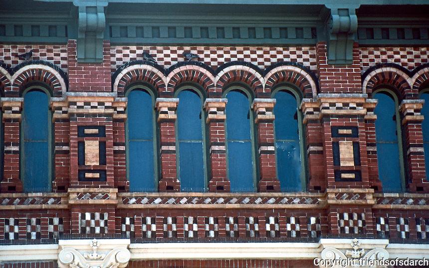 Galveston:  Truehart Bldg. brickwork. Why Houston AIA Guide ranks Clayton with Furness.  Photo '96.