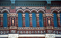 Galveston:  Truehart Bldg. brickwork. Why Houston AIA Guide ranks Clayton with Furness.  Photo '96.