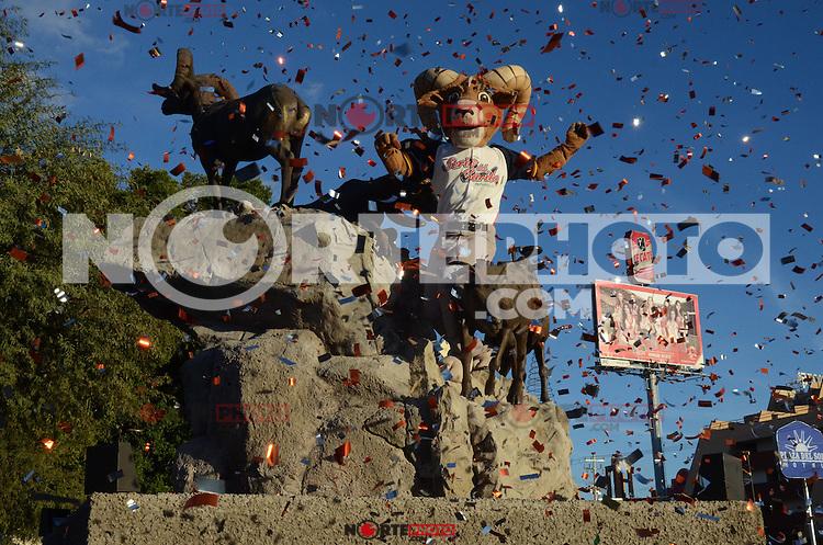 HERSOMILLO, MEXICO, DICIEMBRE 14: Presentacion de Walo, mascota de la Serie del Caribe 2013, en el monumento al Borrego Cimarron el 14 de diciembre de 2012, en Hermosillo, Mexico. (Foto: Stringer/NortePhoto)