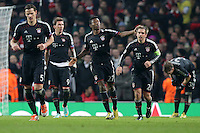 19.02.2013, Emirates Stadion, London, ENG, UEFA Champions League, FC Arsenal vs FC Bayern Muenchen, Achtelfinale Hinspiel, im Bild David ALABA (FC Bayern Muenchen - 27) klatscht Philipp LAHM (FC Bayern Muenchen - 21) ab nach dem 1-3 // during the UEFA Champions League last sixteen first leg match between Arsenal FC and FC Bayern Munich at the Emirates Stadium, London, Great Britain on 2013/02/19. EXPA Pictures © 2013, PhotoCredit: EXPA/ Eibner/ Gerry Schmit..***** ATTENTION - OUT OF GER *****