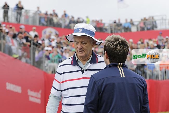 Actor Bill Murray and singer Niall Horan playing in Match 4 of the Ryder Cup Celebrity Matches during Tuesday's Practice Day of the 41st RyderCup held at Hazeltine National Golf Club, Chaska, Minnesota, USA. 27th September 2016.<br /> Picture: Eoin Clarke | Golffile<br /> <br /> <br /> All photos usage must carry mandatory copyright credit (&copy; Golffile | Eoin Clarke)