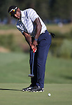 NFL's Patrick Peterson putts in the final round of the American Century Championship at Edgewood Tahoe Golf Course in Stateline, Nev., on Sunday, July 19, 2015. <br /> Photo by Cathleen Allison