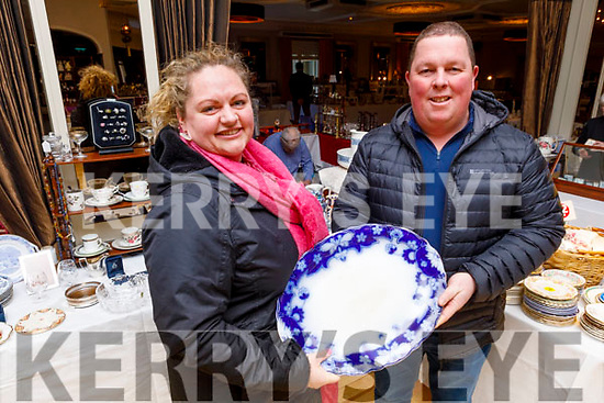 April and TJ Scanlan checking out the antique plates on Sunday in the Ballygarry House Hotel at the Kerry Antiques Fair.