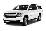 2017 Chevrolet Suburban LS 5 Door SUV Angular Front stock photos of front three quarter view