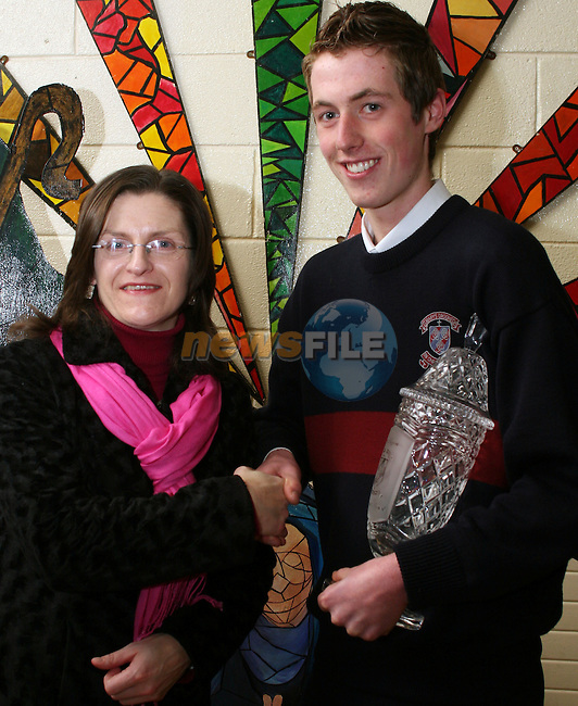 Ms Justine Fox presents the Sean Higgins Memorial Award to Mark Ward at the St. Mary's School Awards...Photo NEWSFILE/Jenny Matthews.(Photo credit should read Jenny Matthews/NEWSFILE)....This Picture has been sent you under the condtions enclosed by:.Newsfile Ltd..The Studio,.Millmount Abbey,.Drogheda,.Co Meath..Ireland..Tel: +353(0)41-9871240.Fax: +353(0)41-9871260.GSM: +353(0)86-2500958.email: pictures@newsfile.ie.www.newsfile.ie.FTP: 193.120.102.198.
