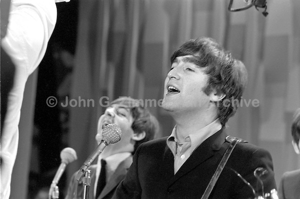 John Lennon Paul McCartney Beatles Perform On Ed Sullivan Show February 1964 New
