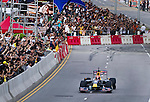 Red Bull Toro Rosso driver Jaime Alguersuari drives his Formula 1 car down Hong Kong's Lung Wo Road during the Red Bull Dragon Run 2011 in Hong Kong, China on the 18th June 2011.