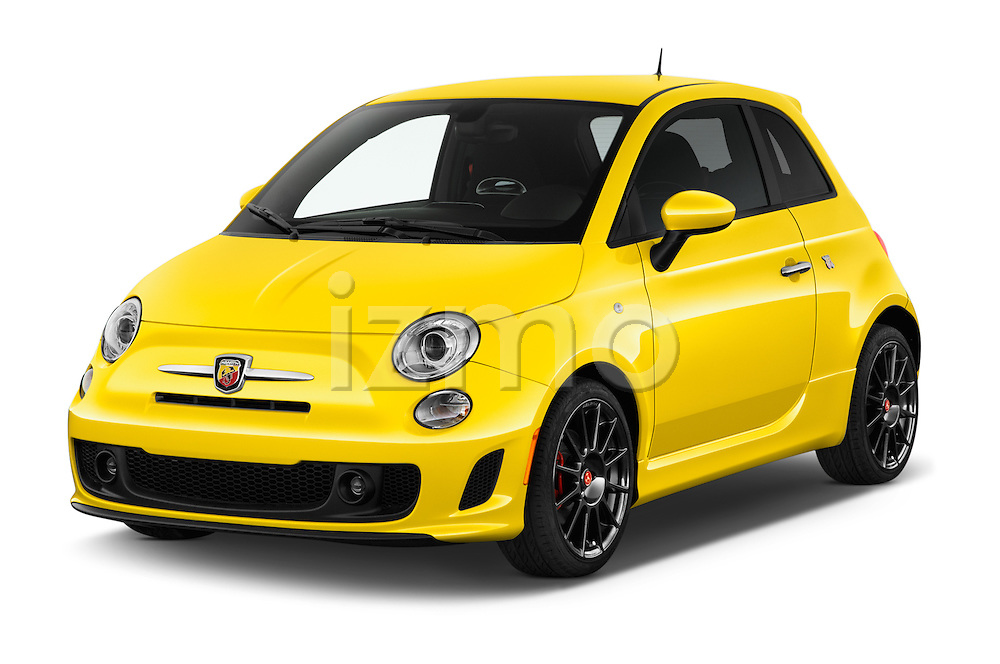 2016 Fiat 500 Abarth 3 Door Hatchback Angular Front stock photos of front three quarter view