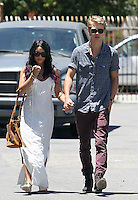 Happy family: Vanessa Hudgens seen going to church with boyfriend Austin Butler and his_mom in Studio City on Sunday. Vanessa wore a tassled maxi dress and a brown suede bag. Los Angeles, California on 24.06.2012...Credit: Correa/face to face.. /MediaPunch Inc. ***FOR USA ONLY*** ***Online Only for USA Weekly Print Magazines*** *NORTEPHOTO*<br />