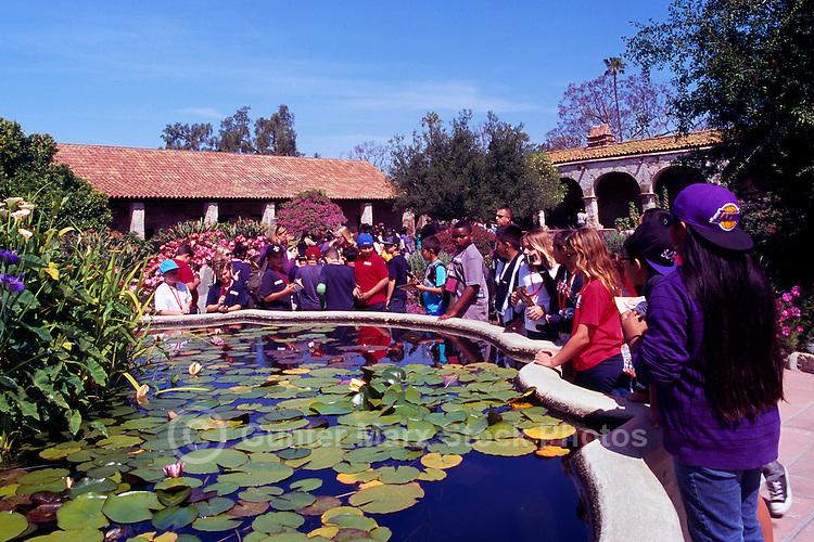 Mission San Juan Capistrano, San Juan Capistrano, California, USA - School Children on a Visit - Historic Landmark founded 1776