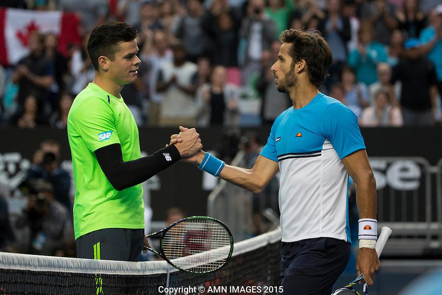 Milos Raonic (CAN) Feliciano Lopez (ESP)<br /> <br /> Tennis - Australian Open 2015 - Grand Slam -  Melbourne Park - Melbourne - Victoria - Australia  - 26 January 2015. <br /> &copy; AMN IMAGES