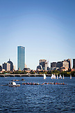 MASSACHUSETTS, Boston, City Skyline with sailboats from MIT in the foreground on the Charles River