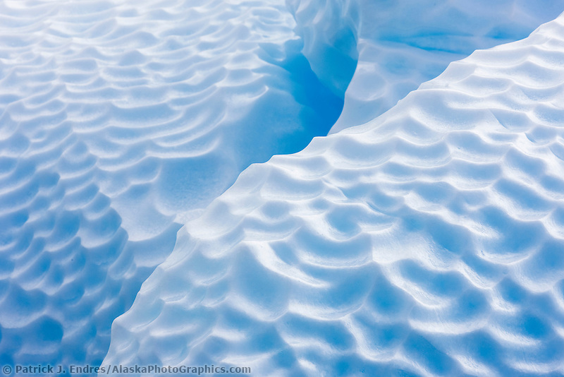 Wave sculpted patterns on a floating iceberg at Paulet Island, Antarctic peninsula.