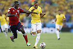 (L-R) Cristian Zapata (COL), Neymar (BRA), JULY 4, 2014 - Football / Soccer : FIFA World Cup Brazil 2014 Quarter Final match between Brazil 2-1 Colombia at the Castelao arena in Fortaleza, Brazil. <br /> (Photo by AFLO)