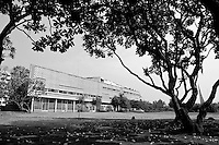 The Preah Suramarith Theatre was built in 1966 by the architect Vann Molyvann and inaugurated in 1968 by the King Norodom Sihanouk. Located nearby Bassac river, its shape conjured up an image of boat. Phnom Penh, Cambodia - 2005.