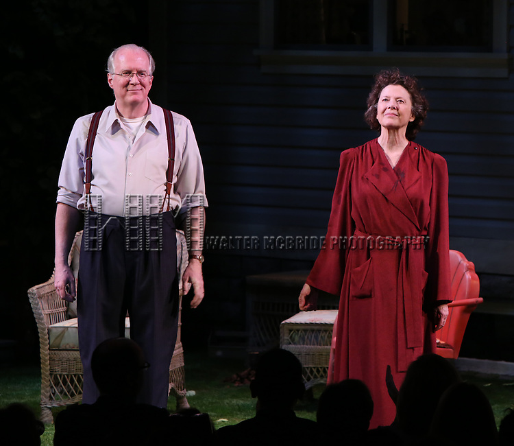 """Tracy Letts and Annette Bening during the Broadway Opening Night Curtain Call for """"All My Sons"""" at The American Airlines Theatre on April 22, 2019  in New York City."""