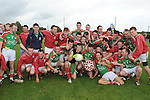 Glen Emmets celebrate with the Kevin Mullen shield after they beat Naomh Fionnbarra at Monasterboice. Photo: www.colinbellphotos.com