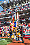 7 April 2016: A Washington Color Guard honors America prior to the Washington Nationals' Home Opening Game against the Miami Marlins at Nationals Park in Washington, DC. The Marlins defeated the Nationals 6-4 in their first meeting of the 2016 MLB season. Mandatory Credit: Ed Wolfstein Photo *** RAW (NEF) Image File Available ***
