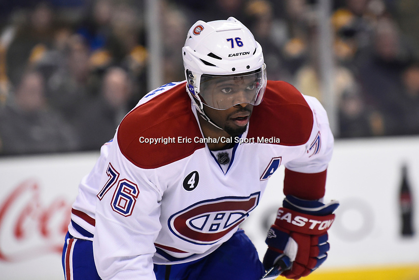 February 8, 2015 - Boston, Massachusetts, U.S. - Montreal Canadiens defenseman P.K. Subban (76) in game action during the NHL game between the Montreal Canadiens and the Boston Bruins held at TD Garden in Boston Massachusetts.