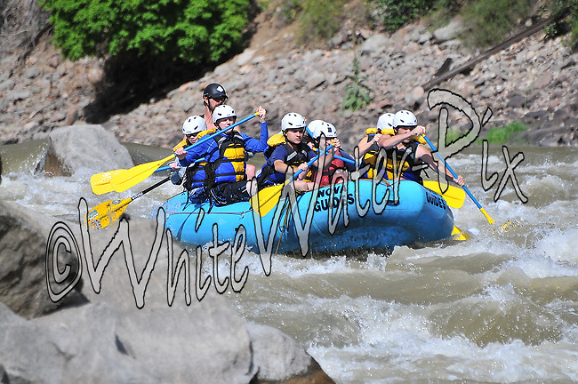 Nova Guides crashing Man-Eater Rapid while running Shoshone in Glenwood Canyon on the Colorado River, August 12, 2013, Afternoon Trip, PM, Glenwood Springs, Colorado - WhiteWater-Pix | River Adventure Photography - by MADOGRAPHER Doug Mayhew