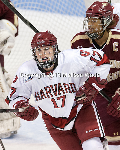 Kaitlin Spurling (Harvard - 17) - The Boston College Eagles defeated the Harvard University Crimson 2-1 in the opening game of the 2013 Beanpot on Tuesday, February 5, 2013, at Matthews Arena in Boston, Massachusetts.