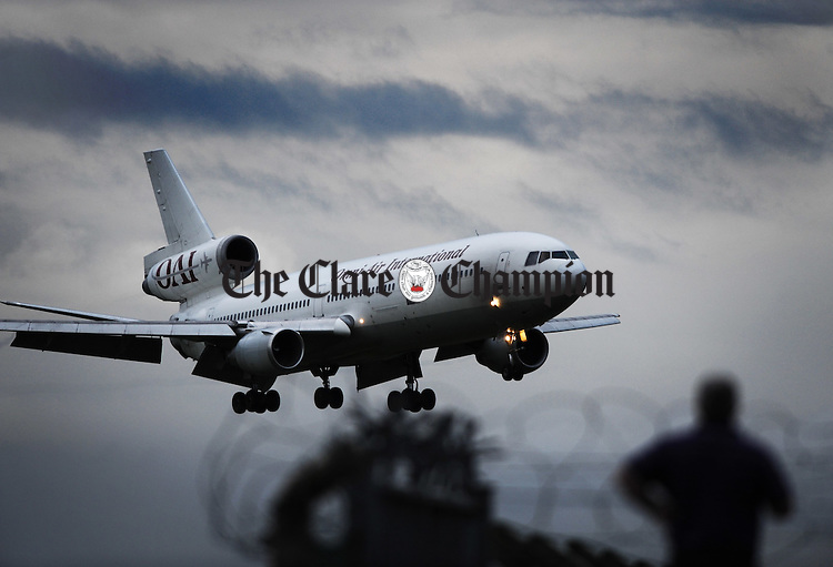 An Omni Air International plane lands at Shannon Airport. Photograph by John Kelly.