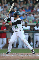 Dayton Dragons first baseman Nick O'Shea #23 bats during a game against the Lake County Captains at Fifth Third Field on June 25, 2012 in Dayton, Ohio. Lake County defeated Dayton 8-3. (Brace Hemmelgarn/Four Seam Images)