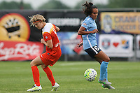 Piscataway, NJ - Saturday July 09, 2016: Rebecca Moros, Taylor Lytle during a regular season National Women's Soccer League (NWSL) match between Sky Blue FC and the Houston Dash at Yurcak Field.