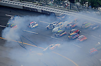 Apr 26, 2008; Talladega, AL, USA; NASCAR Nationwide Series drivers crash during the Aarons 312 at the Talladega Superspeedway. Mandatory Credit: Mark J. Rebilas-