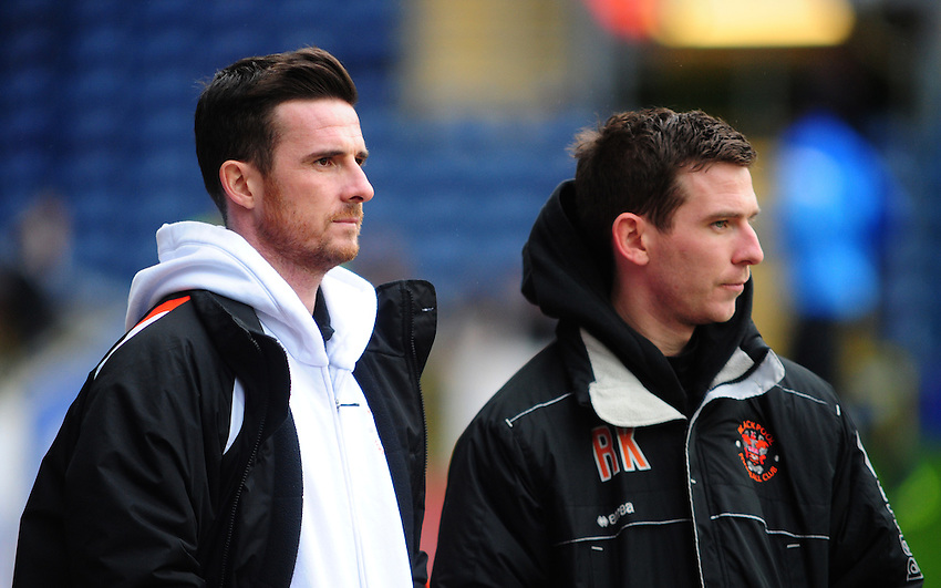 Blackpool's Caretaker Manager Barry Ferguson, left, and Blackpool's head of youth coaching Richard Kyle during the pre-match warm-up <br /> <br /> Photo by Chris Vaughan/CameraSport<br /> <br /> Football - The Football League Sky Bet Championship - Blackburn Rovers v Blackpool - Saturday 1st February 2014 - Ewood Park - Blackburn<br /> <br /> &copy; CameraSport - 43 Linden Ave. Countesthorpe. Leicester. England. LE8 5PG - Tel: +44 (0) 116 277 4147 - admin@camerasport.com - www.camerasport.com